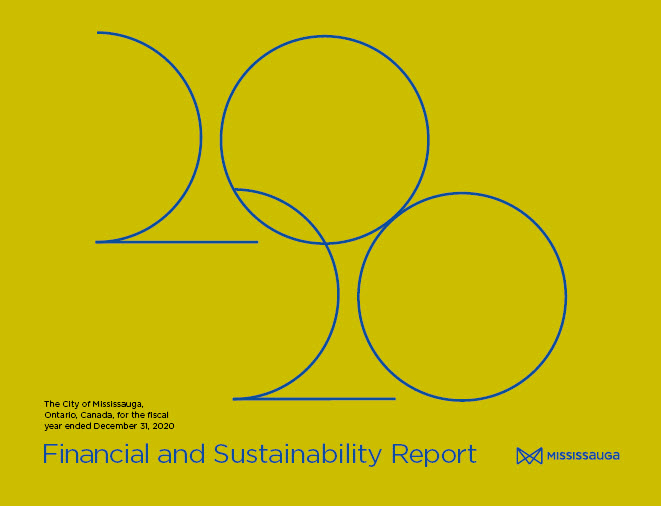 Cover of the 2020 financial report - a yellow background with 2020 overlapping blue text