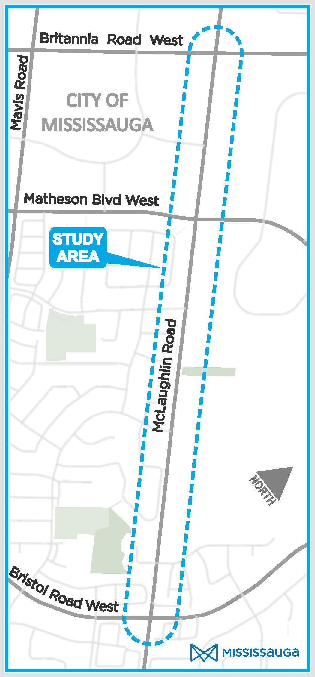 Map of the study area, covering McLaughlin Road from Bristol Road West in the South to Britannia Road West in the North.