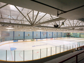 View from the bleachers of ice rink