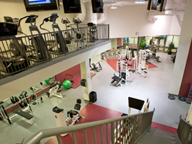 Interior of fitness centre showing exercise equipment