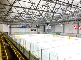 Interior of rink showing empty ice surface