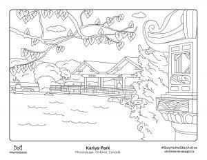 Colouring page of Kariya Park in Mississauga
