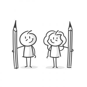 Illustration of a boy and girls holding pencils