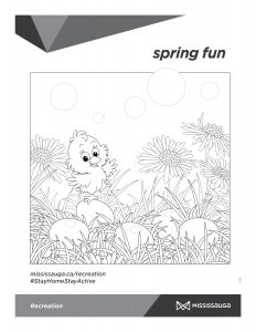 colouring page with baby chick and Easter eggs