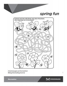 Bees and flower maze activity page