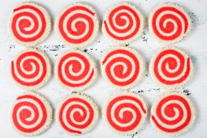 Red and White Pinwheel Cookie background