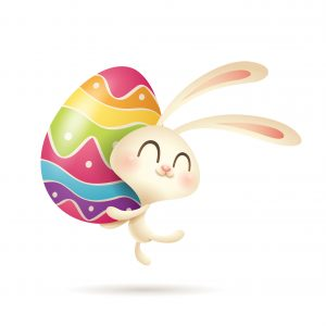 Easter bunny jumps up with a painted egg.