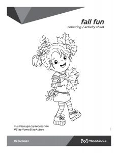 Autumn girl with leaves colouring activity