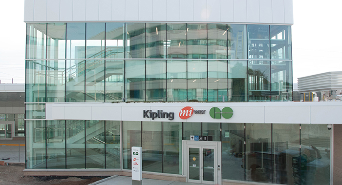 Kipling Bus Terminal entrance with terminal name, MiWay logo and GO logo