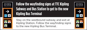 TTC wayfinding sign at Kipling Subway and Bus Station