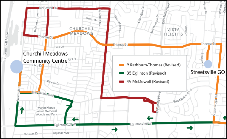 MiWay service mao around the new Churchill Meadows Community Centre