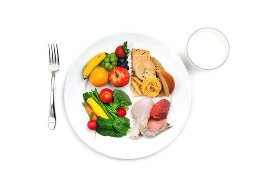 A variety of food from different food groups on a dinner plate with a fork and a glass of milk.
