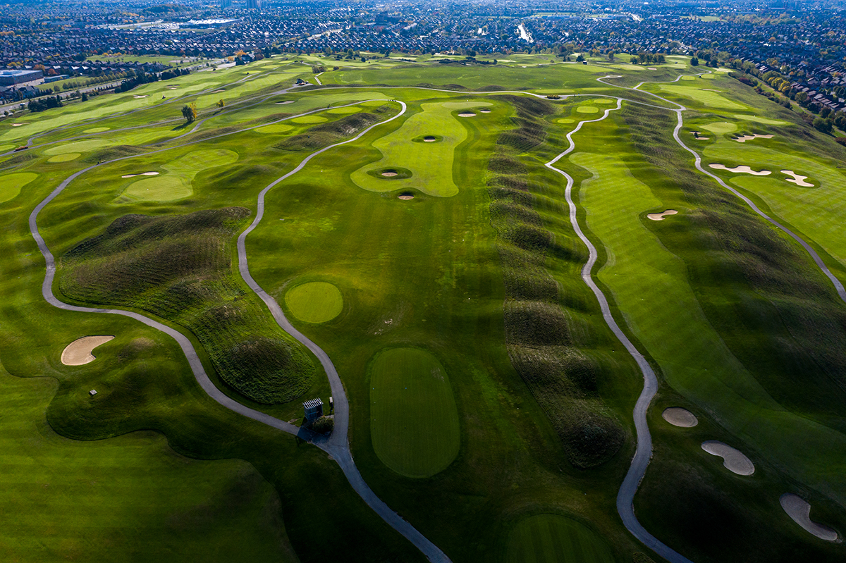 Aerial view of hole 12 at BraeBen Golf Course.