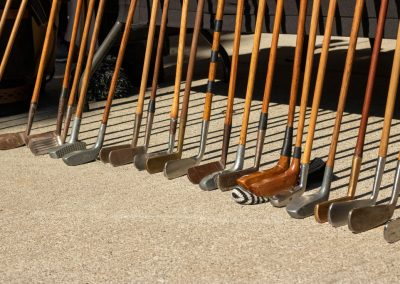 Wooden clubs and drivers on display