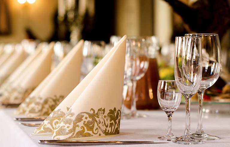 Napkins and glassware table settings