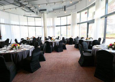 Black linens banquet table setup